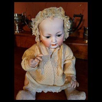 Antique Ecru Cotton and Lace  Baby Bonnet