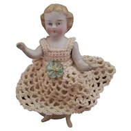 Early Stone Bisque Girl with Molded Hair