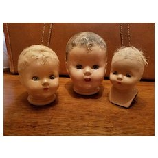 Unmarked Composition Doll Heads