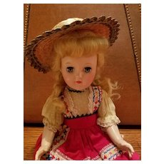 Vintage Straw Doll Hat Green Trim
