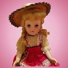 Vintage Straw Doll Hat Green Trim