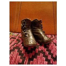 Antique Child's Shoes Black Leather