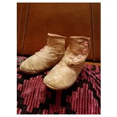 Antique Child's Shoes White Leather