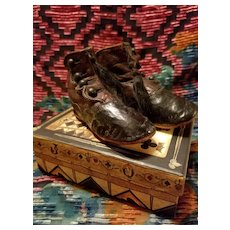 Antique Two Tone Leather Child's Boots