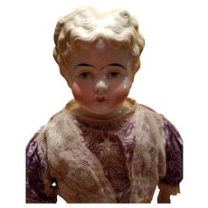 Antique Blonde China Head in Antique Clothing