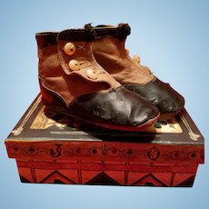 Antique Child's Boots in Black and Brown Leather
