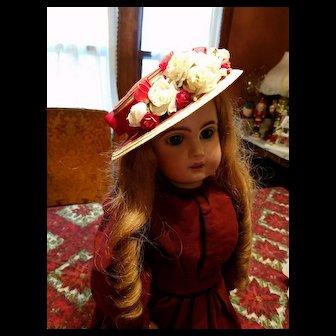 Vintage Red Straw Doll Hat