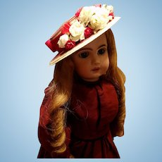 Vintage Red Straw Doll Hat