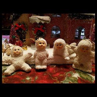 Vintage Snow Baby Ornament Set