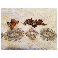 Antique  Bisque Lace and Embroidered Medallions