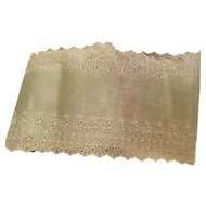 Vintage Green Embroidered Organdy