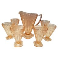 Depression Glass Pitcher and 7 Tumblers ADAM Pattern