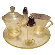 Depression Glass Condiment Set FLORENTINE  Pattern