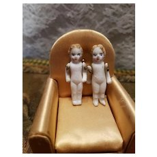 Twin Antique Penny Bisque Dolls