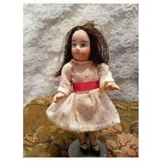 Miniature Antique Bisque Girl In Antique Clothes