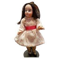 Miniature Antique Bisque Girl In Antique Clothes