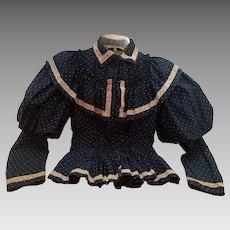 Victorian Royal Blue Polka Dot Cotton Blouse