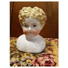 Large Antique Curly Top China Head