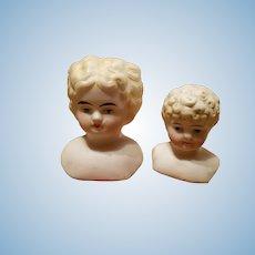 Pair of Antique Blonde Bisque Shoulder Heads