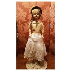 Antique White Cotton Eyelet Doll Slip with Drawstring Waist