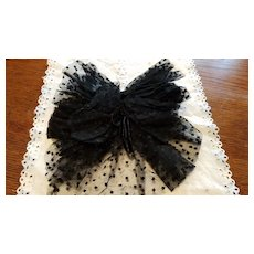 Antique Black Embroidered Net Bow