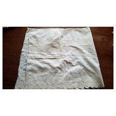 Antique Cream Cotton Material with Tatting