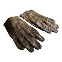 Antique Brown Leather Child's Gloves