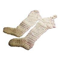 Vintage Cream Wool Baby Stockings