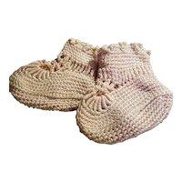 Vintage Pink Crochet Baby Booties