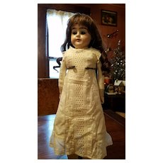 Antique Eyelet and Embroidered Cotton Doll Slip