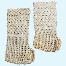 Vintage Hand Crochet Doll Stockings