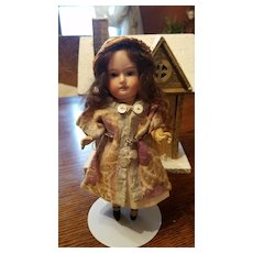 Miniature Antique Bisque Doll with Character Face