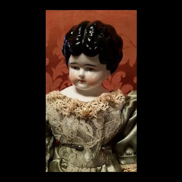 Antique Turned Head China Head Doll