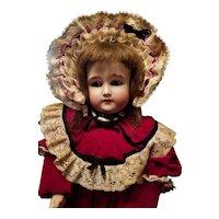 Antique Bisque Gebruder Kuhnlenz in Velvet Dress and Bonnet