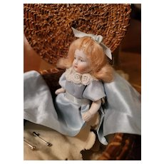 Antique All Bisque Sewing Basket Doll