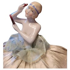 Antique Flapper Pin Cushion Doll with Mirror