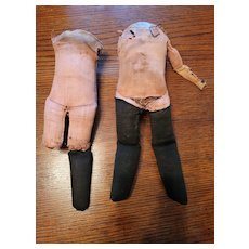 Two Antique Pink Cloth Doll Bodies