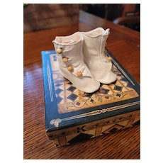 Antique White Leather Doll Shoes with Heels