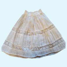 Antique White Cotton Pleated Doll Slip