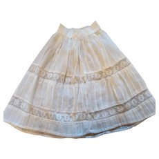Antique White Cotton Pleated Doll Slip