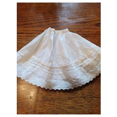 Antique White Cotton Doll Slip with Tucks and Eyelet