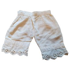 Antique Ecru Cotton Doll Pantaloons with Eyelet  Trim