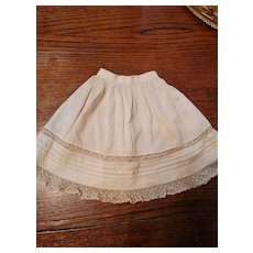 Antique Cream Cotton Doll Slip Tucks and Lace