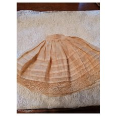 Vintage Ecru Cotton Doll Slip with Tucks and Lace