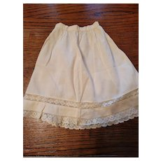 Antique Cream Cotton Doll Slip with Lace Edge and Insert