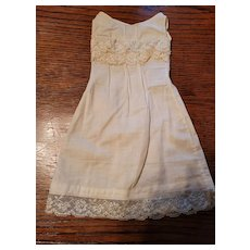 Antique Cream Cotton Full Slip with Lace Bodice