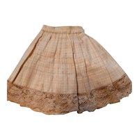 Antique Ecru Windowpane Cotton Doll Slip