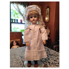 Vintage White Cotton Doll Dress and Hat
