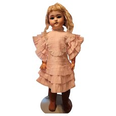 Vintage Pink Cotton Doll Dress Ruffle Sleeve