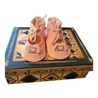 Antique Pink Leatherette Doll Shoes